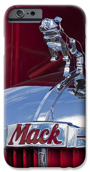 Model iPhone Cases - 1952 L Model Mack Pumper Fire Truck Hood Ornament iPhone Case by Jill Reger