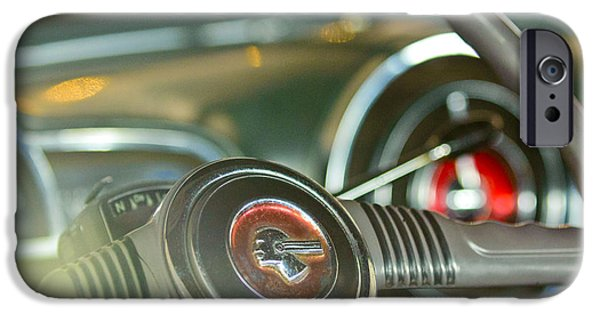 1952 iPhone Cases - 1952 Pontiac Chieftain Steering Wheel Emblem iPhone Case by Jill Reger