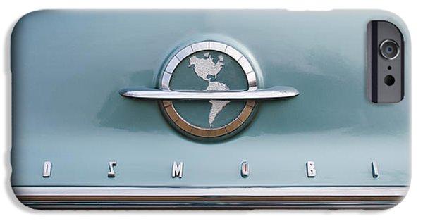 Old Cars iPhone Cases - 1954 Oldsmobile Super 88 Grille Emblem -110c iPhone Case by Jill Reger