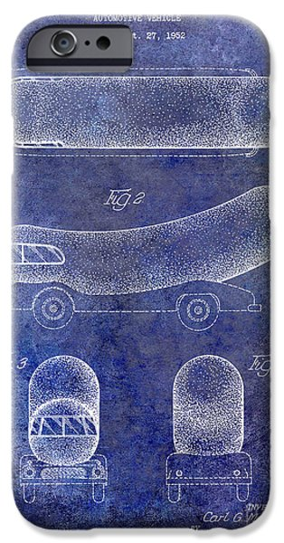 Hot Dogs iPhone Cases - 1954 Weiner Mobile Patent Blue iPhone Case by Jon Neidert