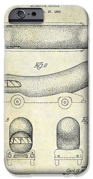 Hot Dogs iPhone Cases - 1954 Weiner Mobile Patent iPhone Case by Jon Neidert