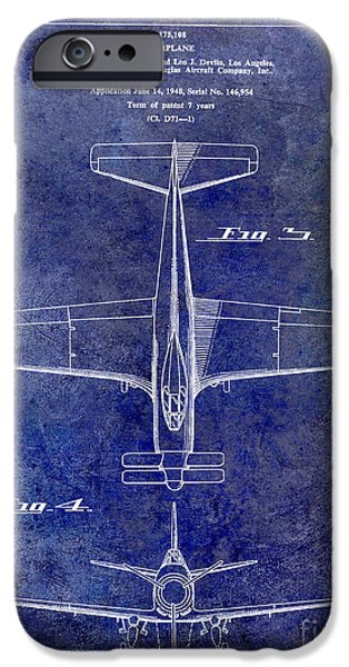 Vintage Plane iPhone Cases - 1955  Airplane Patent Drawing 2 Blue iPhone Case by Jon Neidert