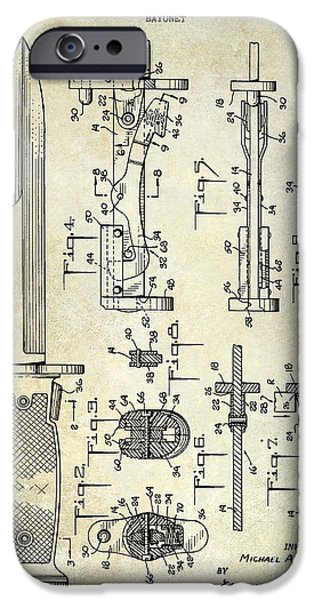 Ww1 Photographs iPhone Cases - 1955 Bayonet Patent iPhone Case by Jon Neidert