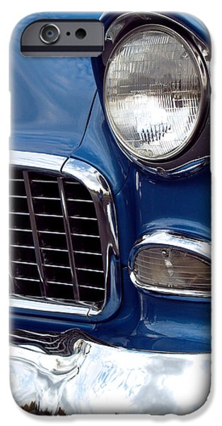 Antique Cars iPhone Cases - 1955 Chevy Front End iPhone Case by Anna Lisa Yoder