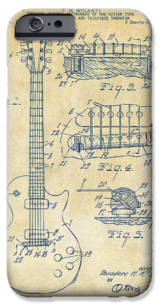 Electric Drawings iPhone Cases - 1955 McCarty Gibson Les Paul Guitar Patent Artwork Vintage iPhone Case by Nikki Marie Smith