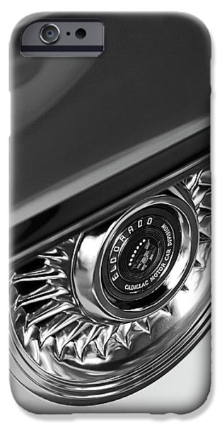 Old Cars iPhone Cases - 1956 Cadillac Eldorado Wheel Black and White iPhone Case by Jill Reger