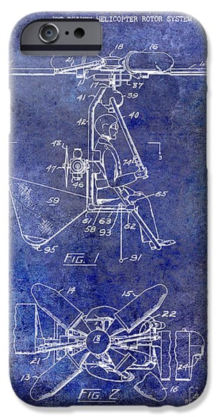 Helicopter iPhone Cases - 1956 Helicopter Patent Blue iPhone Case by Jon Neidert