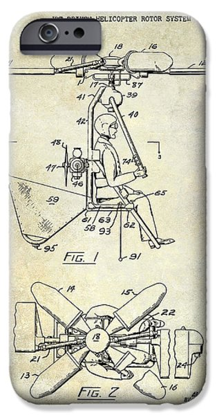 Helicopter iPhone Cases - 1956 Helicopter Patent iPhone Case by Jon Neidert