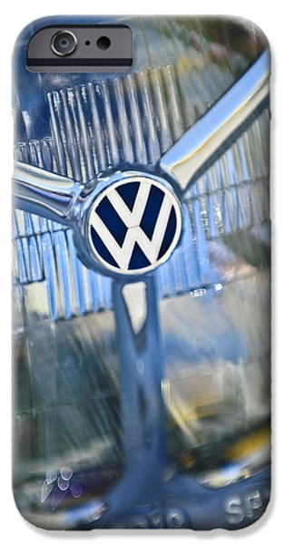 1956 iPhone Cases - 1956 Volkswagen VW Bug Head Light iPhone Case by Jill Reger