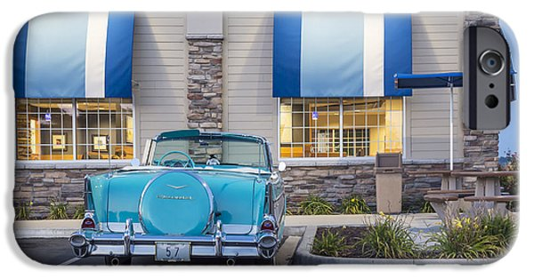 Old Cars iPhone Cases - 1957 Belair At the Diner iPhone Case by Dennis Hedberg