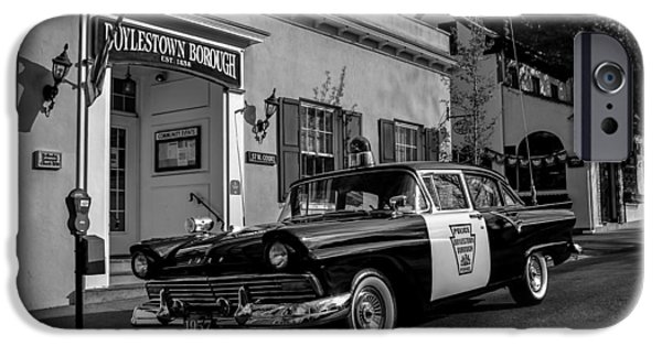 Police Cruiser iPhone Cases - 1957 Doylestown Borough Police Cruiser iPhone Case by Michael Brooks