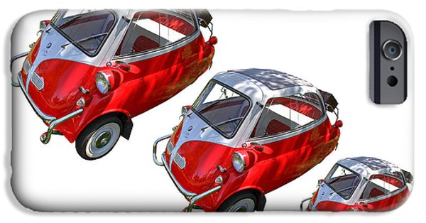 Old Cars iPhone Cases - 1957 Isetta 300 3 Views iPhone Case by Nick Gray
