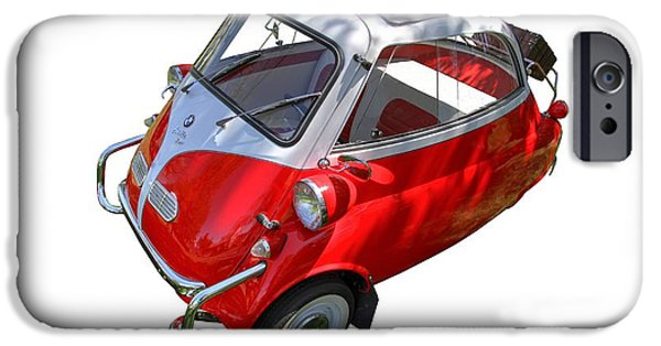 Old Cars iPhone Cases - 1957 Isetta 300 Top View iPhone Case by Nick Gray