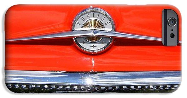 Automotive Pyrography iPhone Cases - 1957 Pontiac emblem iPhone Case by Claude Prud