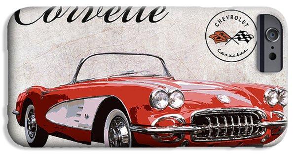 Summer iPhone Cases - 1958 Chevrolet Corvette Convertible iPhone Case by Daniel Hagerman