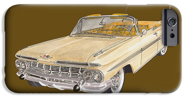 Basic Drawings iPhone Cases - 1959 Chevrolet Impala Convertible iPhone Case by Jack Pumphrey