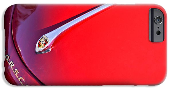 Historic Vehicle iPhone Cases - 1959 Porsche 1600 Cabriolet Hood Ornament iPhone Case by Jill Reger