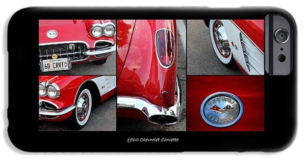 Jordan iPhone Cases - 1960 Chevrolet Corvette Collage iPhone Case by Rosanne Jordan