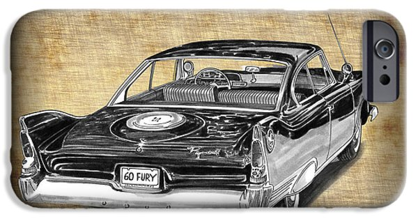 Fury Drawings iPhone Cases - 1960 Plymouth Fury III iPhone Case by Jack Pumphrey