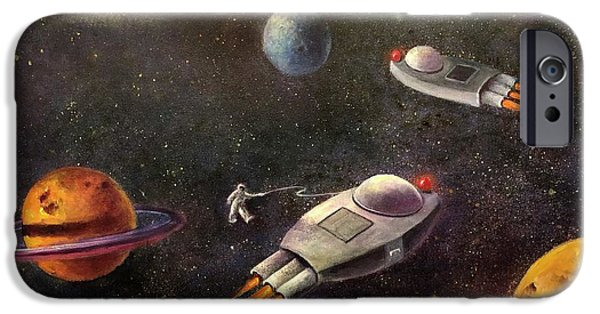 Outer Space Paintings iPhone Cases - 1960s Outer Space Adventure iPhone Case by Randy Burns