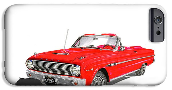 Component Paintings iPhone Cases - 1963 Ford Falcon Sprint V 8 iPhone Case by Jack Pumphrey