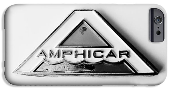 Old Cars iPhone Cases - 1964 Amphicar Model 770 Emblem -0411bw iPhone Case by Jill Reger