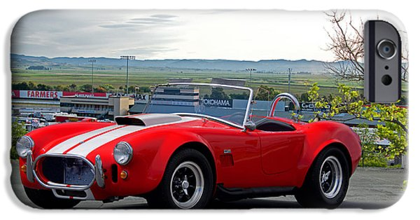 Circuit iPhone Cases - 1965 Shelby Cobra Above it All Roadster iPhone Case by Dave Koontz