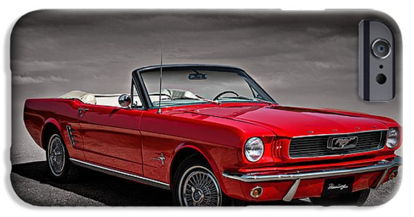 Convertible iPhone Cases - 1966 Ford Mustang Convertible iPhone Case by Douglas Pittman