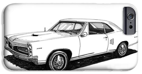 Pen And Ink Framed Prints iPhone Cases - 1967 Pontiac G T O iPhone Case by Jack Pumphrey