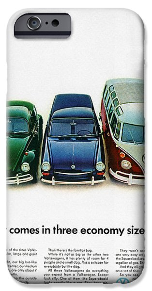 Three Sizes iPhone Cases - 1967 Volkswagen Beetle Squareback and The Box iPhone Case by Digital Repro Depot