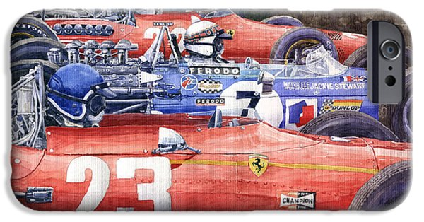 Ferrari Watercolor iPhone Cases - 1968 Belgie GP SPA Ickx Amon Ferrari 312 Stewart Matra Cosworth M15 iPhone Case by Yuriy Shevchuk