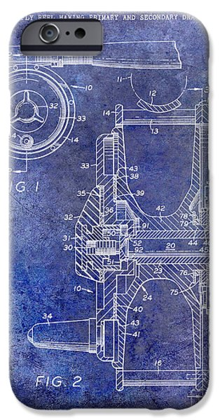 Cape Cod iPhone Cases - 1969 Fly Reel Patent Blue iPhone Case by Jon Neidert