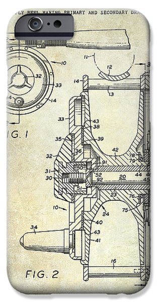 Cape Cod iPhone Cases - 1969 Fly Reel Patent iPhone Case by Jon Neidert