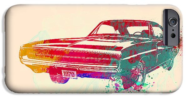 Vintage Car iPhone Cases - 1970 Dodge Charger 1 iPhone Case by Naxart Studio