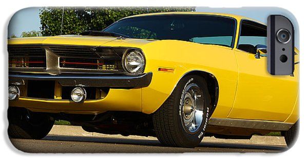 440 iPhone Cases - 1970 Hemi Cuda - Lemon Twist Yellow iPhone Case by Gordon Dean II