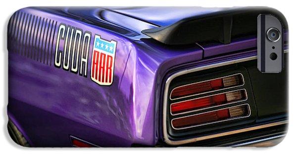 426 iPhone Cases - 1970 Plymouth AAR Cuda Plum Crazy Purple iPhone Case by Gordon Dean II