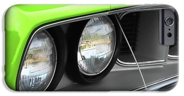 440 iPhone Cases - 1971 Plymouth Barracuda Cuda Sublime Green iPhone Case by Gordon Dean II