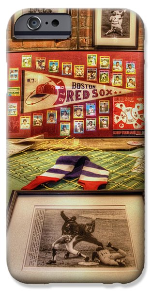 Fred Lynn iPhone Cases - 1975 Red Sox 001 iPhone Case by Jeff Stallard