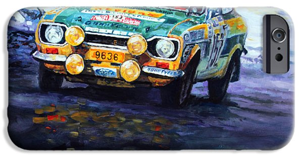 Rally iPhone Cases - 1977 Rallye Monte Carlo Ford Escort RS 2000 #152 Beauchef Dubois Keller iPhone Case by Yuriy Shevchuk