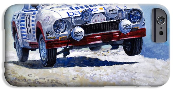 Racing iPhone Cases - 1978 Skoda 130 RS #19 Rally Acropolis Haugland iPhone Case by Yuriy Shevchuk
