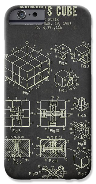 Rubiks Cube iPhone Cases - 1983 Rubiks Cube Patent - Dark Grunge iPhone Case by Aged Pixel