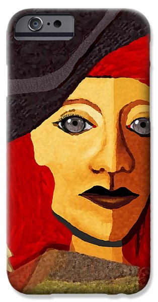 Woman With Black Hair iPhone Cases - 199  -  Her Sad Eyes iPhone Case by Irmgard Schoendorf Welch