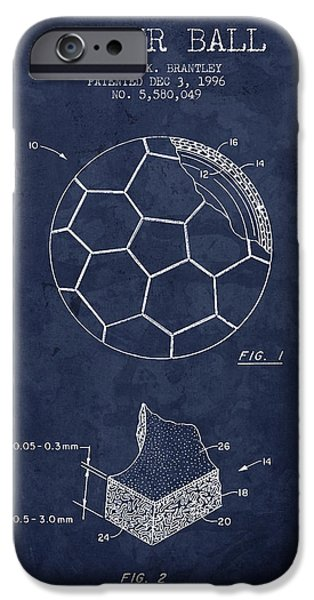Technical Drawings iPhone Cases - 1996 Soccer Ball Patent Drawing - Navy Blue - NB iPhone Case by Aged Pixel