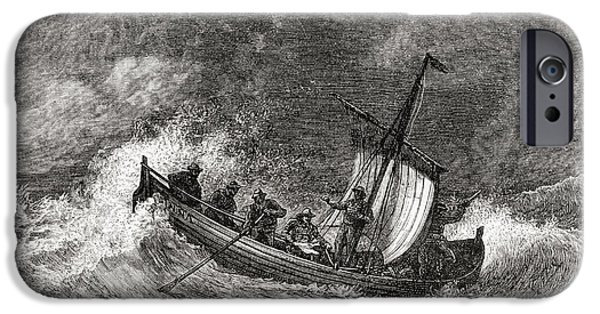 Nineteenth iPhone Cases - 19th Century Fishing Boat In Stormy iPhone Case by Ken Welsh
