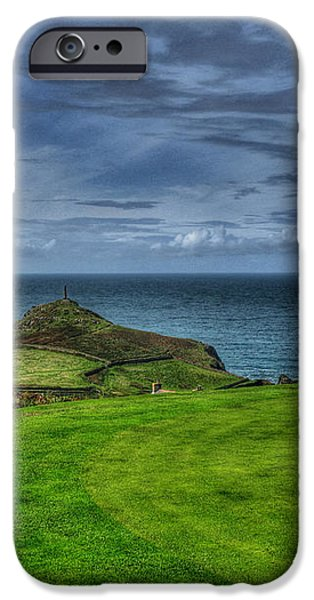 1st green Cape Cornwall Golf Club iPhone Case by Chris Thaxter