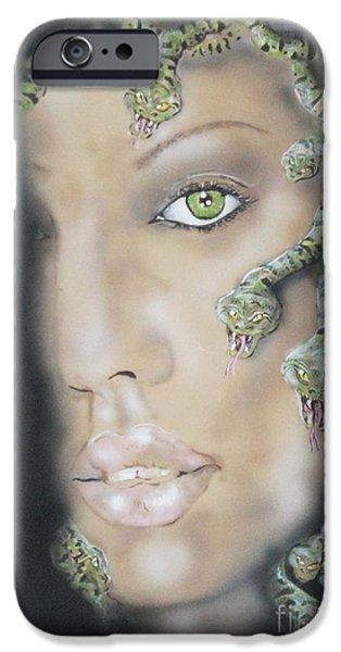Jessica Alba iPhone Cases - 1st Medusa iPhone Case by John Sodja
