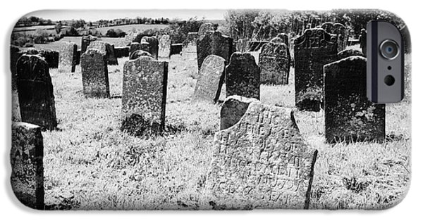 Headstones iPhone Cases - 17th And 18th Century Headstones In Tydavnet Old Cemetery County Monaghan Republic Of Ireland iPhone Case by Joe Fox