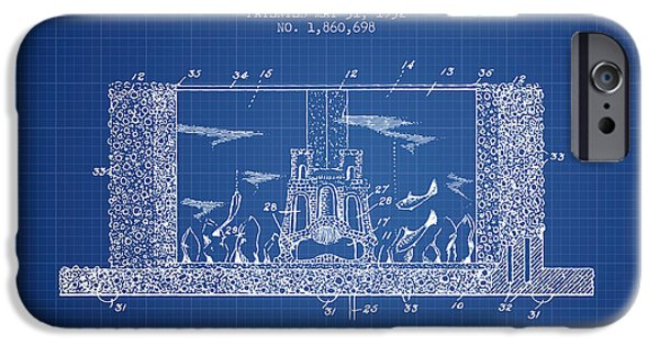 Aquarium Fish iPhone Cases - 1932 Aquarium Patent - Blueprint iPhone Case by Aged Pixel
