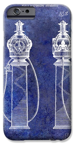 Griffin iPhone Cases - 1932 Gas Pump Patent Blue iPhone Case by Jon Neidert