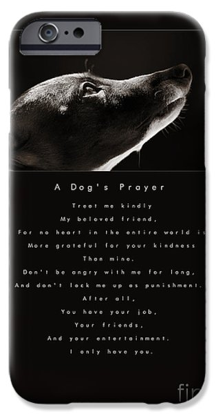 Rescued Greyhound iPhone Cases - A Dogs Prayer iPhone Case by Angela Rath